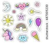 cute collection of doodle... | Shutterstock .eps vector #687005230