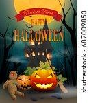 happy halloween night party... | Shutterstock .eps vector #687009853