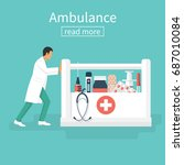 doctor ambulance. medic with... | Shutterstock .eps vector #687010084