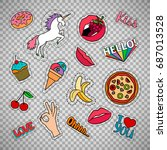 funny quirky colorful food... | Shutterstock .eps vector #687013528
