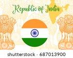 emblem of india. lion capital... | Shutterstock .eps vector #687013900
