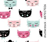 cute cats seamless pattern. pet ... | Shutterstock .eps vector #687017026