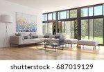 modern bright living room ... | Shutterstock . vector #687019129