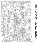vector hand drawn fantasy old... | Shutterstock .eps vector #687020200