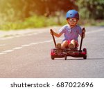 happy boy standing on... | Shutterstock . vector #687022696