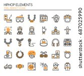 hiphop elements   thin line and ... | Shutterstock .eps vector #687025990