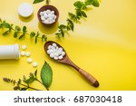 herbal medicine pills with leaf ... | Shutterstock . vector #687030418