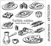 turkish cuisine.vector isolated ... | Shutterstock .eps vector #687031504
