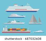 flat ocean cruise liner  cargo... | Shutterstock . vector #687032608