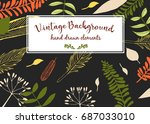 floral vector background.... | Shutterstock .eps vector #687033010