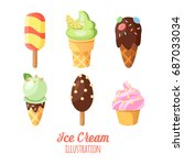 funny ice cream background.... | Shutterstock .eps vector #687033034