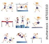 light athletics set. sports men ...   Shutterstock .eps vector #687033310