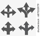 three way direction arrow set ... | Shutterstock .eps vector #687033979