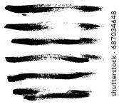 ink vector brush strokes set.... | Shutterstock .eps vector #687034648