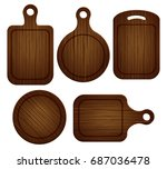 set of empty wooden cutting... | Shutterstock .eps vector #687036478