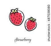 strawberry line doodle vector... | Shutterstock .eps vector #687038080