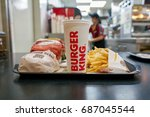 Small photo of INCHEON, SOUTH KOREA - CIRCA JUNE, 2017: food served on a tray at Burger King. Burger King is an American global chain of hamburger fast food restaurants.