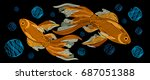 embroidery with golden fish on... | Shutterstock .eps vector #687051388