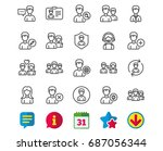 users line icons. male and... | Shutterstock .eps vector #687056344