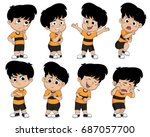 set of cute boy pose showing... | Shutterstock .eps vector #687057700