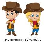 adorable kid cowboy.vector and... | Shutterstock .eps vector #687058276