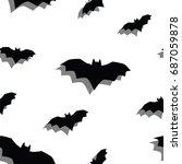 seamless texture pattern bat | Shutterstock . vector #687059878