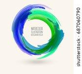 watercolor texture. ink round... | Shutterstock .eps vector #687060790