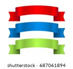 red  blue and green ribbons set.... | Shutterstock .eps vector #687061894