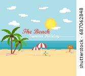the beach summer background | Shutterstock .eps vector #687062848