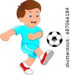 cute little boy soccer player   Shutterstock . vector #687066184