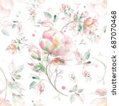 watercolor seamless pattern of... | Shutterstock . vector #687070468