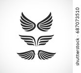 angel wings vector icon set on... | Shutterstock .eps vector #687073510