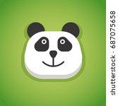 flat panda face head icon... | Shutterstock .eps vector #687075658