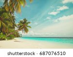 tropical sand beach | Shutterstock . vector #687076510
