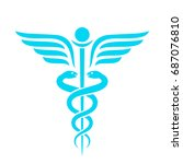 medicine ancient vector emblem... | Shutterstock .eps vector #687076810