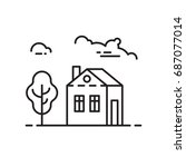 house icon thin line vector... | Shutterstock .eps vector #687077014