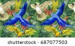 sky bird parrot pattern in a...   Shutterstock . vector #687077503