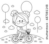 Stock vector happy little girl riding a bicycle at the park vector black and white coloring book page 687081148