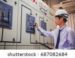engineer is check voltage or... | Shutterstock . vector #687082684