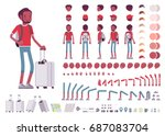 Black male tourist with trip luggage and rucksack. Character creation set. Full length, different views, emotions and gestures. Build your own design. Cartoon flat-style infographic illustration   Shutterstock vector #687083704
