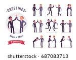 business partners handshaking ... | Shutterstock .eps vector #687083713