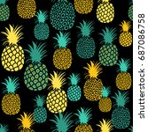 pineapple seamless pattern.... | Shutterstock .eps vector #687086758