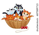 Stock vector cute kittens in the basket vector cartoon illustration isolated on a white background 687089713