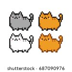 cute kitten domestic pet pixel... | Shutterstock .eps vector #687090976