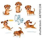 cute cartoon dog pointing ... | Shutterstock .eps vector #687091138