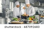 in the modern kitchen team of... | Shutterstock . vector #687092683