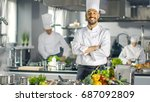 famous chef of a big restaurant ... | Shutterstock . vector #687092809