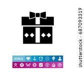 gift in box with bow icon | Shutterstock .eps vector #687093319