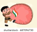 cute little boy dressed as army ... | Shutterstock .eps vector #687096730