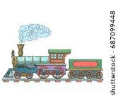 vintage steam locomotive vector ...   Shutterstock .eps vector #687099448